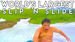getlinkyoutube.com-WORLD'S LARGEST SLIP 'N SLIDE!