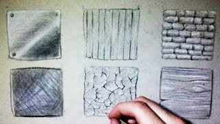 getlinkyoutube.com-Drawing Time Lapse: 6 different textures (Wood, metal, stone...)