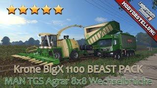 getlinkyoutube.com-LS 15 Modvorstellung #154 ★ Krone BigX 1100 BEAST PACK + MAN TGS Agrar 8x8 Wechselbrücke