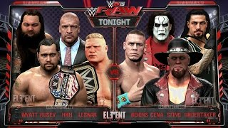 getlinkyoutube.com-WWE RAW 2K15 : Undertaker, Sting, John Cena & Reigns vs Brock Lesnar, HHH, Wyatt & Rusev - 23/03/15