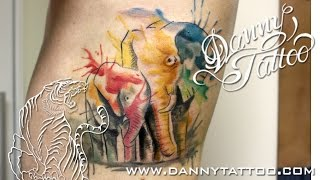 getlinkyoutube.com-Elefantes Aquarela - Danny Tattoo - Elephants WaterColor Tattoo - TimeLapse
