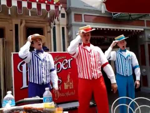 Dapper Dans Singing in Front of Coca Cola Refreshment Center at Disneyland California
