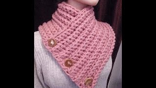 getlinkyoutube.com-How to crochet A BUTTONED WRAP SCARF COWL, crochet pattern, vid # 979
