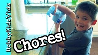 HobbyKids Do Chores! Trash + Sweeping Cleaning Every Week by HobbyKidsVids