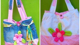 getlinkyoutube.com-Como fazer bolsa com calça jeans (how to make a bag using a pair of jeans)