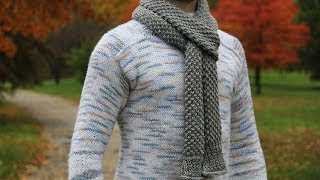getlinkyoutube.com-How to knit men's scarf - video tutorial with detailed instructions.