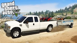 getlinkyoutube.com-Ford F350 Super Duty 4x4 Towing Challenge! Hauling 2 ATVs Off-Road & Mudding! (GTA 5 PC Mods)