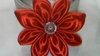getlinkyoutube.com-DIY-cara membuat bunga sederhana dari pita satin-how to make a simple flower of satin ribbon