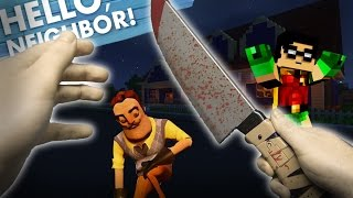 getlinkyoutube.com-Minecraft Realistic : Hello Neighbor - Stabbing Mr Wilson With a KNIFE???
