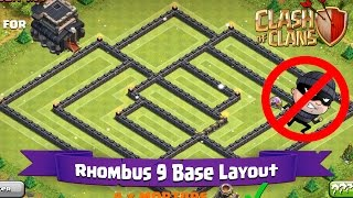 Clash Of Clans: TH9 | BEST Farming Base Layout - Rhombus 9