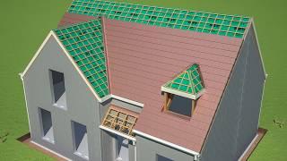 Toiture et isolation d'un toit en 3D d'une maison individuelle - Je construis ma maison avec Monier