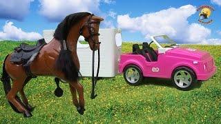 getlinkyoutube.com-Машина с прицепом и лошадь для барби / vehicle with a trailer and a horse for Barbie