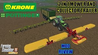 "getlinkyoutube.com-Farming Simulator 2015 - 2 in 1 Mower and Collector Trailer ""Mod Review"""
