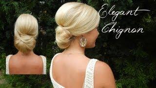 getlinkyoutube.com-Smooth Elegant Volumized Chignon without Heat (Long/Medium Hair)