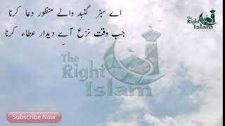 Aye Sabz Gumbad Wale Manzoor Dua Karna Naat Lyrics in Urdu (Awais Raza Qadri)