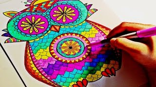 getlinkyoutube.com-Sharpie-Color Time | Owl Mandala - Part 2
