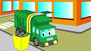 getlinkyoutube.com-Cartoon about a garbage truck. Coloring book. Let's color a garbage truck!