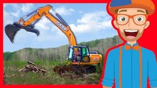 getlinkyoutube.com-Construction Trucks for Children with Blippi | Excavators for Kids
