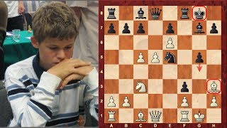 getlinkyoutube.com-Magnus Carlsen's amazing double bishop sacrifice Mikhail Tal like chess game at the age of 12!