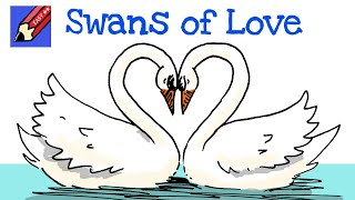 getlinkyoutube.com-How to draw Swans of Love! Real Easy - for kids and beginners