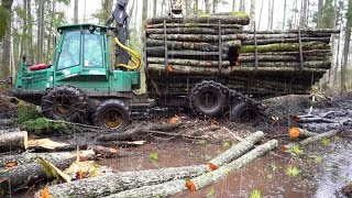 getlinkyoutube.com-Timberjack 810B in wet forest, difficult logging conditions