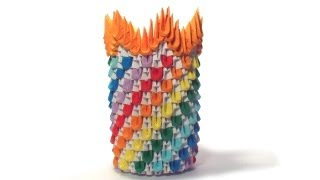 getlinkyoutube.com-3D origami rainbow vase tutorial