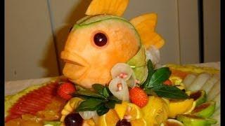 getlinkyoutube.com-How to make a fish with melon - By J. Pereira Art Carving