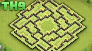 Clash of clans - TH9 Defense/Hybrid Base [The Bagua] 2016 + replays