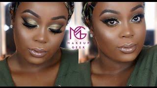 getlinkyoutube.com-BOMB Olive Green Smokey Eye| ALL MakeupGeek Shadows| Vanity Planet Brush Set