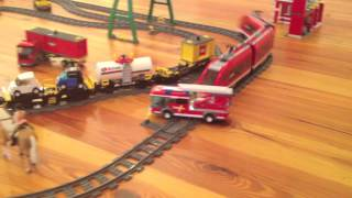 getlinkyoutube.com-Lego City Fire Truck in Lego Train Crash - Toy Horse and Motorway Towaway Saves the Day!