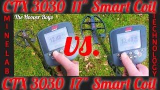 "getlinkyoutube.com-Minelab CTX 3030 11"" Smart Coil vs. 17"" Smart Coil Assembly Deep Depth Test Comparison Hunt & Review"