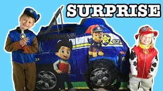 """getlinkyoutube.com-GIANT Paw Patrol Surprise TENT """"Chase's Police Cruiser"""" Filled with Paw Patrol Surprise Toys"""