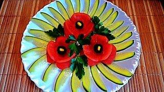 getlinkyoutube.com-Цветы из помидор! Украшения тарелки. Flowers of tomato. Decoration of dish!