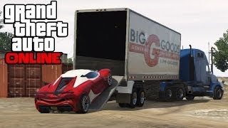 getlinkyoutube.com-GTA 5 Online - Hauling Cars In Semi Trucks ! How To Transport Cars In a Trailer (GTA V Online)