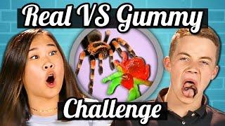 TEENS vs GUMMY FOOD vs REAL FOOD CHALLENGE!!! | Teens Vs. Food width=