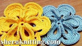 getlinkyoutube.com-Crochet Flower with Six Petals and 3D Center How To Tutorial 30 Πώς να πλέκω λουλούδι