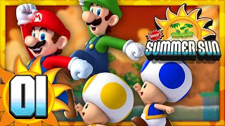 getlinkyoutube.com-New Super Mario Bros. Summer Sun - Part 1 (4 Player)