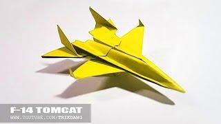 getlinkyoutube.com-Papierflieger selbst basteln. Papierflugzeug falten - Beste Origami Flugzeug  | F-14 Tom Kakt