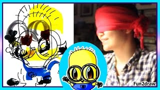 getlinkyoutube.com-Drawing a Minion - BLINDFOLD CHALLENGE - When Did You Start Laughing? - Fun2draw