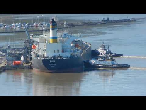 Click to view video Inca getting help from two tugs