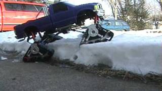 getlinkyoutube.com-LOOK!   Test between crawler and my F-350 in deep snow, with TANK TRACKS!!!!       You haven't seen this before!