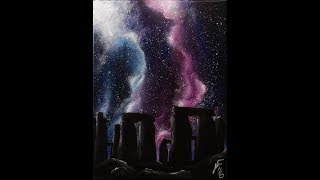 getlinkyoutube.com-Starry Night at Stonehenge Step by Step Acrylic Painting on Canvas for Beginners
