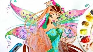 getlinkyoutube.com-✿ how to draw winx club flora bloomix ✿ speedpainting
