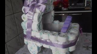 getlinkyoutube.com-Como fazer carrinho de fraldas para chá de bebe