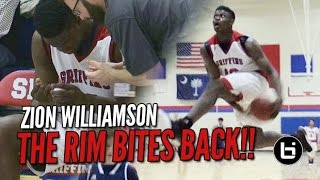 getlinkyoutube.com-Zion Williamson Attempts In-Game Eastbay & Rim Bites Back!