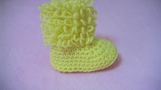 getlinkyoutube.com-Πλεκτα Μποτακια / Loop Stitch Booties Crochet Tutorial