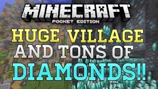 getlinkyoutube.com-HUGE Village, DIAMONDS, & Dungeons Seed In MCPE! - Minecraft PE (Pocket Edition) BEST SEED!?