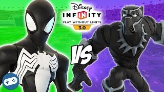 Black Suit Spiderman VS Black Panther Disney Infinity 3.0 Toy Box Fight