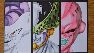 getlinkyoutube.com-Drawing Frieza, Perfect Cell and Kid Buu - Vilains of DragonBall Z