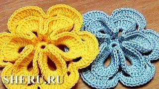 getlinkyoutube.com-Free Crochet 3D Flower Tutorial 30 Как связать объемный цветок